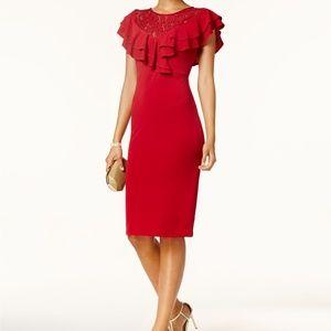 Ivanka Trump Ruffled Lace Sheath Dress Red Sz 14